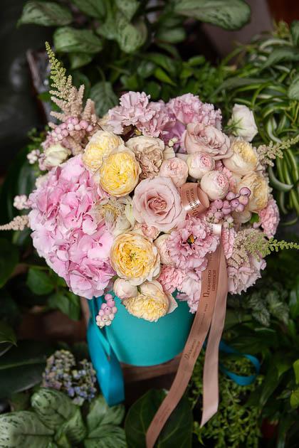Розовая Гортензия, Пионовидная роза и Лизиантус в Шляпной коробке купить с доставкой по Саратову