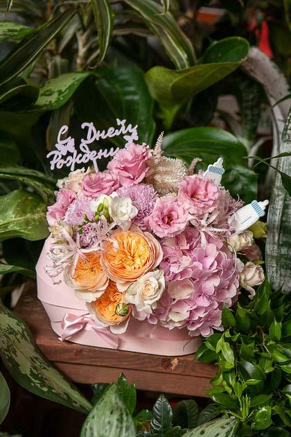 Гортензия, Пионовидная Роза и Лизиантус в Коробке с Днем Рождения, розовая купить с доставкой по Саратову