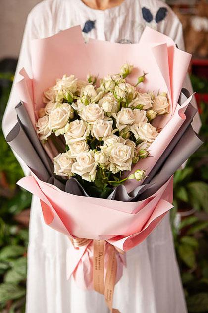 Монобукет из Кремовой Розы - planeta.florist