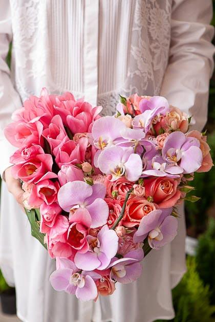 Цветы в форме сердца: Роза Розовая, Лососевая, Орхидея, Тюльпаны - Саратов