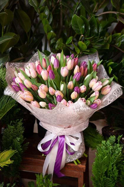 Букет из 101 тюльпана микс из розовых и сиреневых Саратов