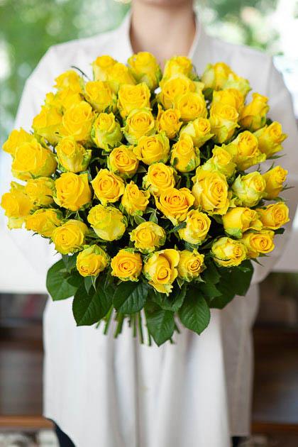51 роза Пенни Лейн, желтая 50см Саратов