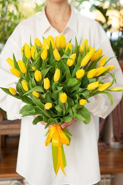 Букет 49 Желтых Тюльпанов Стронг Голд Саратов