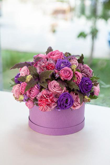 Цветы в Коробке: Роза, Лизиантус и Гвоздика Гипноз Саратов