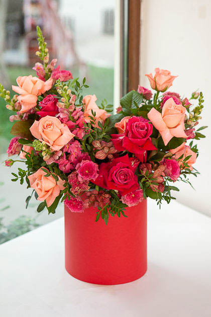 Цветы в Коробке: Роза микс, Антирринум и Фиттония  Саратов