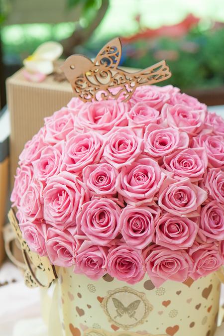 Розовая Роза в Шляпной Коробке - planeta.florist