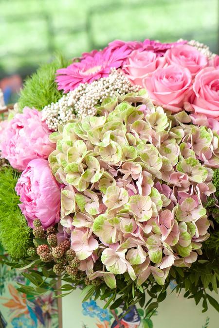 Гортензия, Роза и Гербера в Коробке - planeta.florist