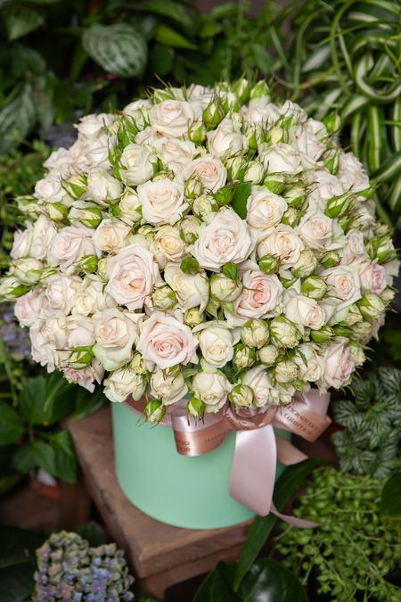Кремовая Кустовая Роза в Шляпной Коробке купить с доставкой по Саратову