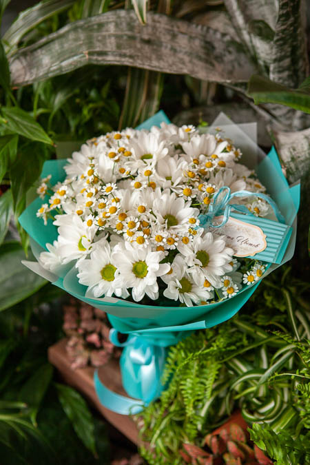 Букет из Ромашки и Белой Хризантемы - planeta.florist