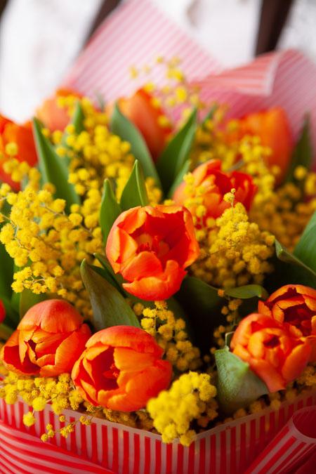 Букет из 15 Красных Тюльпанов и Мимозы Саратов-фото 3