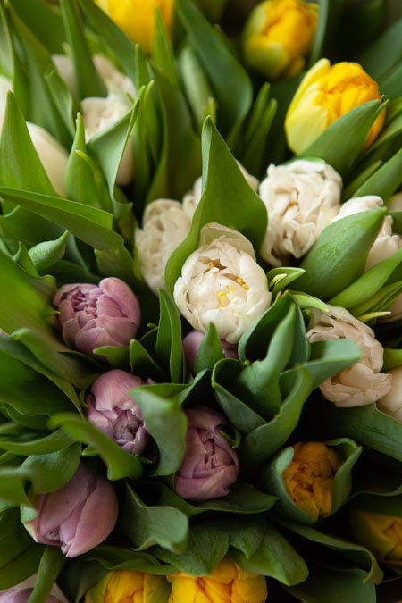 Букет Тюльпанов микс в Серой упаковке Тренд Саратов-фото 3