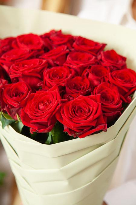 Одностороннй букет из 21 Красной розы Саратов - фото 2